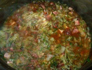 Dukan Diet Recipe Cabbage with Chicken Sausages: Adding Tomato concentrate